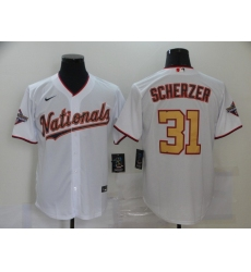 Men's Nike Washington Nationals #31 Max Scherzer White Gold Home Stitched Baseball Jersey