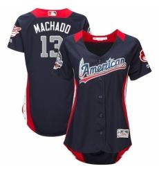 a7b8fa238c0 Women s Majestic Baltimore Orioles  13 Manny Machado Game Navy Blue  American League 2018 MLB All