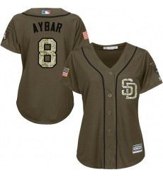 Women's San Diego Padres #8 Erick Aybar Green Salute to Service Stitched MLB Jersey