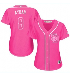 Women's San Diego Padres #8 Erick Aybar Pink Fashion Stitched MLB Jersey