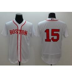 Men's Boston Red Sox #15 Dustin Pedroia White Replica Home Jersey