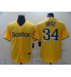 Men's Boston Red Sox #34 David Ortiz Nike Gold-Light Blue 2021 City Connect Replica Jersey