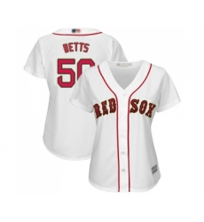 Women's Boston Red Sox #50 Mookie Betts Authentic White 2019 Gold Program Cool Base Baseball Jersey