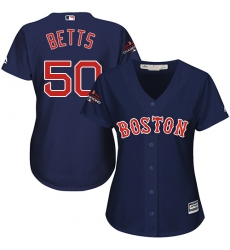 Women's Majestic Boston Red Sox #50 Mookie Betts Authentic Navy Blue Alternate Road 2018 World Series Champions MLB Jersey