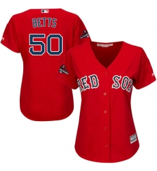 Women's Majestic Boston Red Sox #50 Mookie Betts Authentic Red Alternate Home 2018 World Series Champions MLB Jersey