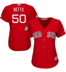 Women's Majestic Boston Red Sox #50 Mookie Betts Authentic Scarlet 2017 Spring Training Cool Base MLB Jersey