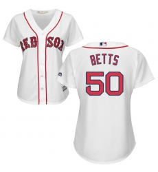 Women's Majestic Boston Red Sox #50 Mookie Betts Authentic White Home MLB Jersey