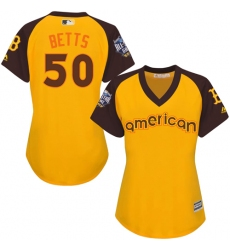 Women's Majestic Boston Red Sox #50 Mookie Betts Authentic Yellow 2016 All-Star American League BP Cool Base MLB Jersey