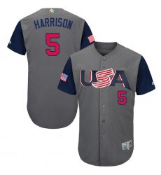 Men's USA Baseball Majestic #5 Josh Harrison Gray 2017 World Baseball Classic Authentic Team Jersey