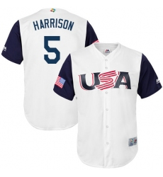Men's USA Baseball Majestic #5 Josh Harrison White 2017 World Baseball Classic Replica Team Jersey
