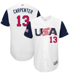 Youth USA Baseball Majestic #13 Matt Carpenter White 2017 World Baseball Classic Authentic Team Jersey