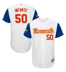 Men's Venezuela Baseball Majestic #50 Gregory Infante White 2017 World Baseball Classic Authentic Team Jersey