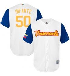 Men's Venezuela Baseball Majestic #50 Gregory Infante White 2017 World Baseball Classic Replica Team Jersey