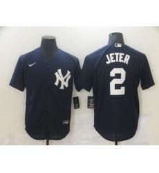 Men's New York Yankees #2 Derek Jeter Authentic Navy Blue Nike MLB Jersey