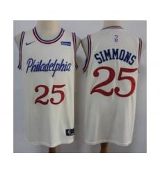 Men's 76ers #25 Ben Simmons Cream New City Edition Swingman Basketball Jersey