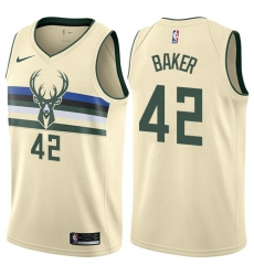 Men's Nike Milwaukee Bucks #42 Vin Baker Authentic Cream NBA Jersey - City Edition