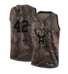 Men's Nike Milwaukee Bucks #42 Vin Baker Swingman Camo Realtree Collection NBA Jersey