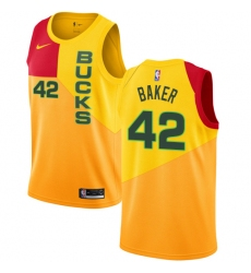 Men's Nike Milwaukee Bucks #42 Vin Baker Swingman Yellow NBA Jersey - City Edition