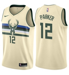 Men's Nike Milwaukee Bucks #12 Jabari Parker Authentic Cream NBA Jersey - City Edition