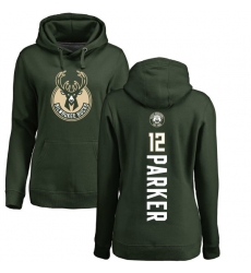 NBA Women's Nike Milwaukee Bucks #12 Jabari Parker Green Backer Pullover Hoodie