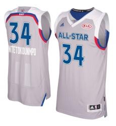 Men's Adidas Milwaukee Bucks #34 Giannis Antetokounmpo Authentic Gray 2017 All Star NBA Jersey