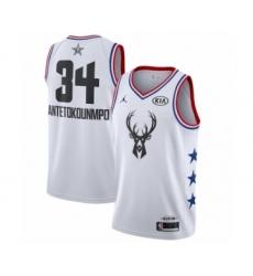 Men's Jordan Milwaukee Bucks #34 Giannis Antetokounmpo Swingman White 2019 All-Star Game Basketball Jersey