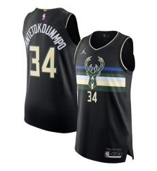 Men's Milwaukee Bucks #34 Giannis Antetokounmpo Jordan Brand Black 2020-21 Authentic Swingman Jersey