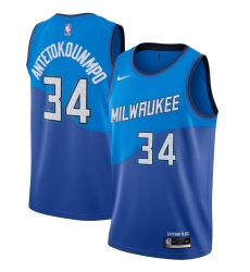Men's Milwaukee Bucks #34 Giannis Antetokounmpo Nike Blue 2020-21 Swingman Player Jersey