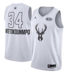 Men's Nike Jordan Milwaukee Bucks #34 Giannis Antetokounmpo Swingman White 2018 All-Star Game NBA Jersey