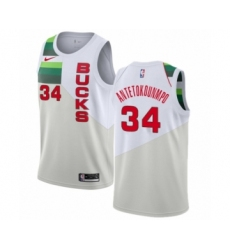 Men's Nike Milwaukee Bucks #34 Giannis Antetokounmpo White Swingman Jersey - Earned Edition