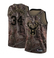 Women's Nike Milwaukee Bucks #34 Giannis Antetokounmpo Swingman Camo Realtree Collection NBA Jersey