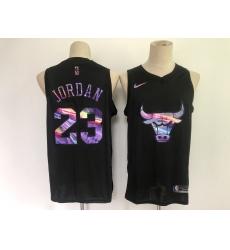 Men's Chicago Bulls #23 Michael Jordan Black Iridescent Holographic 2021 Jersey
