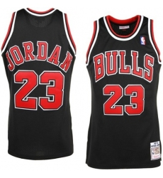 Men's Mitchell and Ness Chicago Bulls #23 Michael Jordan Authentic Black Throwback NBA Jersey