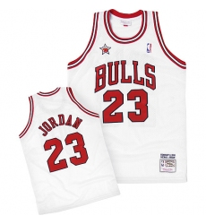 Men's Mitchell and Ness Chicago Bulls #23 Michael Jordan Authentic White 1998 Throwback NBA Jersey