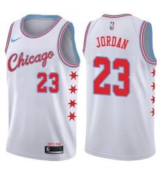 Men's Nike Chicago Bulls #23 Michael Jordan Authentic White NBA Jersey - City Edition