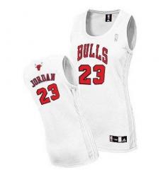 Women's Adidas Chicago Bulls #23 Michael Jordan Authentic White Home NBA Jersey