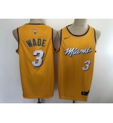Men's Nike Miami Heat #3 Dwyane Wade Yellow City Swingman Basketball Jersey