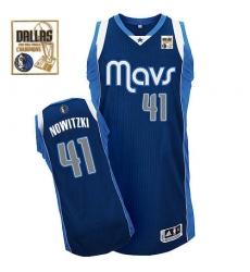Men's Adidas Dallas Mavericks #41 Dirk Nowitzki Authentic Navy Blue Alternate Champions Patch NBA Jersey