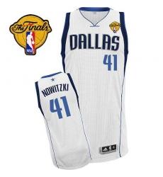Men's Adidas Dallas Mavericks #41 Dirk Nowitzki Authentic White Home Finals Patch NBA Jersey