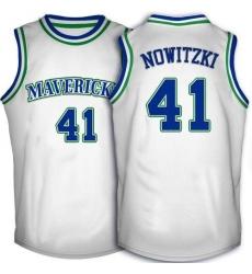 Men's Adidas Dallas Mavericks #41 Dirk Nowitzki Authentic White Throwback NBA Jersey