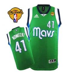 Men's Adidas Dallas Mavericks #41 Dirk Nowitzki Swingman Green Finals Patch NBA Jersey