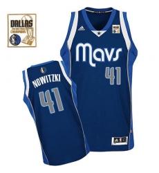 Men's Adidas Dallas Mavericks #41 Dirk Nowitzki Swingman Navy Blue Alternate Champions Patch NBA Jersey