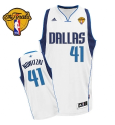Men's Adidas Dallas Mavericks #41 Dirk Nowitzki Swingman White Home Finals Patch NBA Jersey