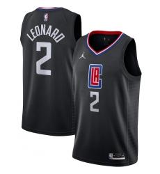 Men's LA Clippers #2 Kawhi Leonard Jordan Brand Black 2020-21 Swingman Jersey