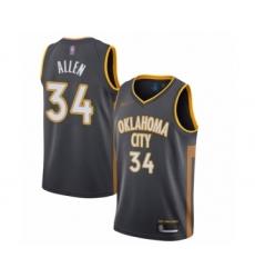 Men's Oklahoma City Thunder #34 Ray Allen Swingman Charcoal Basketball Jersey - 2019 20 City Edition