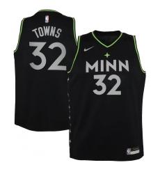 Youth Minnesota Timberwolves #32 Karl-Anthony Towns Nike Black 2020-21 Swingman Jersey
