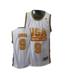 Men's Nike Team USA #9 Michael Jordan Authentic Red Gold No. Basketball Jersey