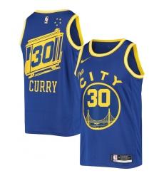 Men's Golden State Warriors #30 Stephen Curry Nike Royal Hardwood Classics 2020-21 Swingman Jersey
