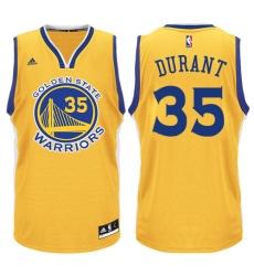 Men's Adidas Golden State Warriors #35 Kevin Durant Swingman Gold NBA Jersey