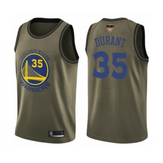 Men's Golden State Warriors #35 Kevin Durant Swingman Green Salute to Service 2019 Basketball Finals Bound Basketball Jersey